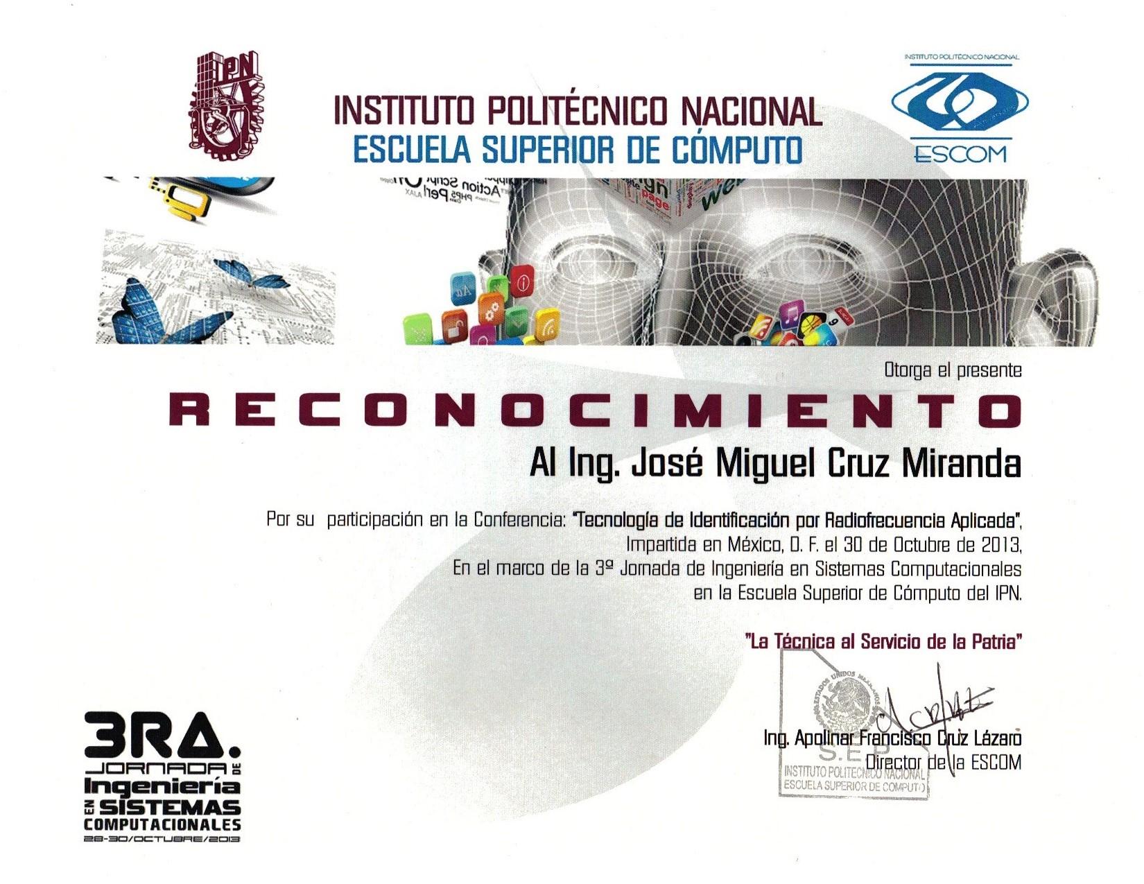 Conferencia Tecnología de Identificación por Radiofrecuencia Aplicada IPN